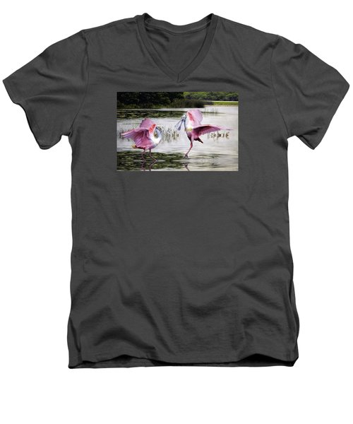 Men's V-Neck T-Shirt featuring the photograph Roseate Spoonbills Sparring. by Brian Tarr