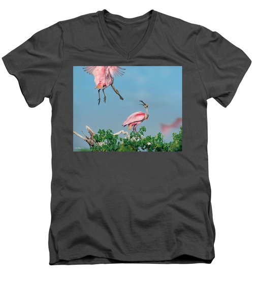 Roseate Spoonbills Men's V-Neck T-Shirt by Tim Fitzharris
