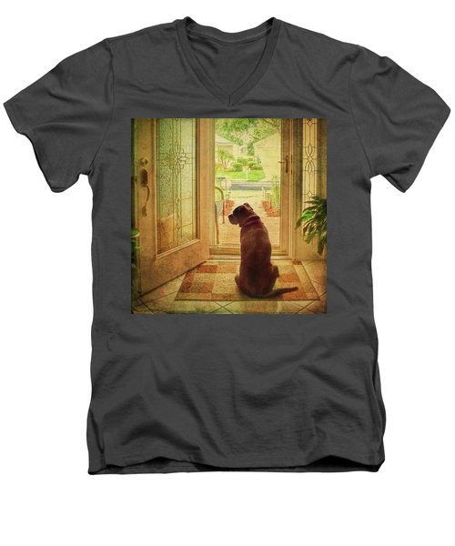 Men's V-Neck T-Shirt featuring the photograph Rosebud At The Door by Lewis Mann