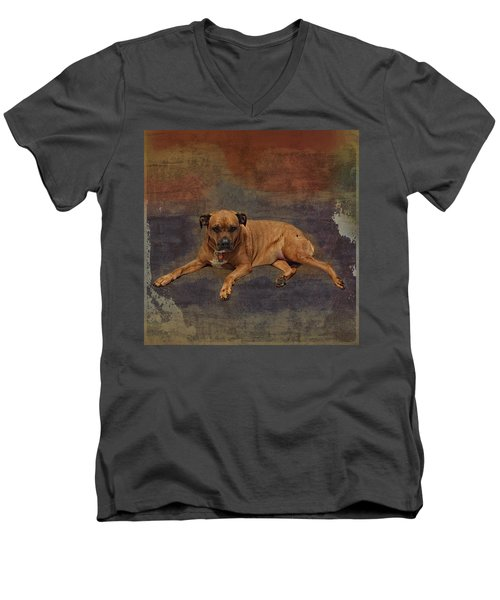 Men's V-Neck T-Shirt featuring the photograph Rosebud In Space by Lewis Mann