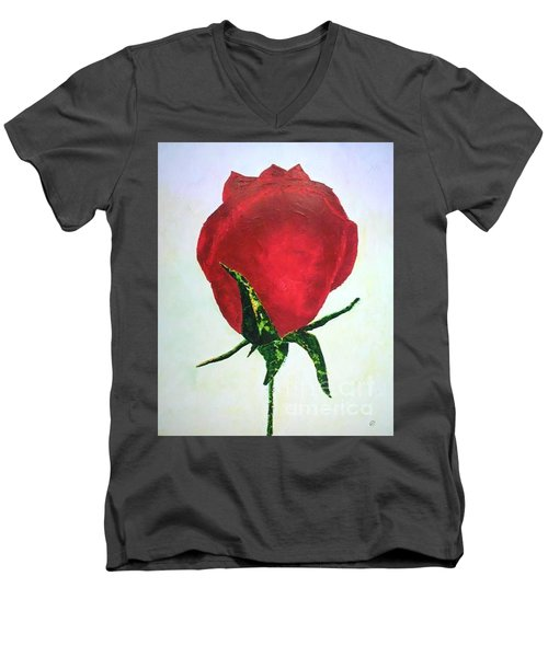 Rosebud Of Beaverlac Men's V-Neck T-Shirt by Lynda Cookson