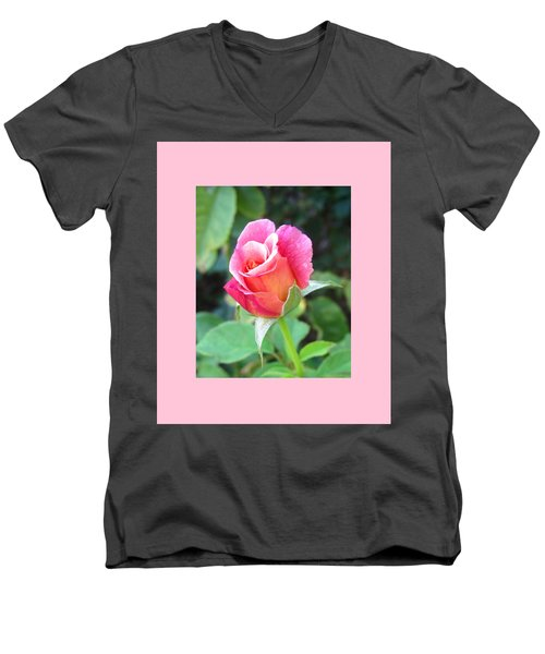Rosebud With Border Men's V-Neck T-Shirt by Mary Ellen Frazee