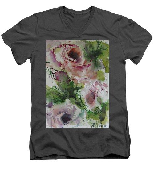 Men's V-Neck T-Shirt featuring the painting Rosebuds by Robert Joyner