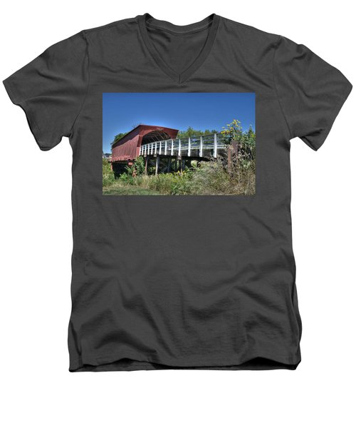 Men's V-Neck T-Shirt featuring the photograph Roseman Bridge No. 5 by Janice Adomeit