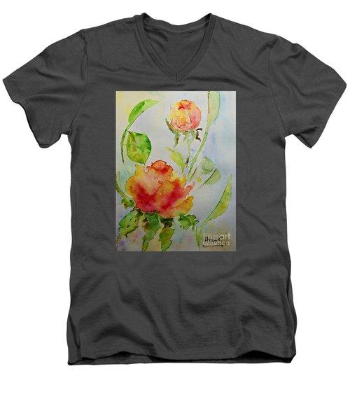 Roses  Men's V-Neck T-Shirt by AmaS Art