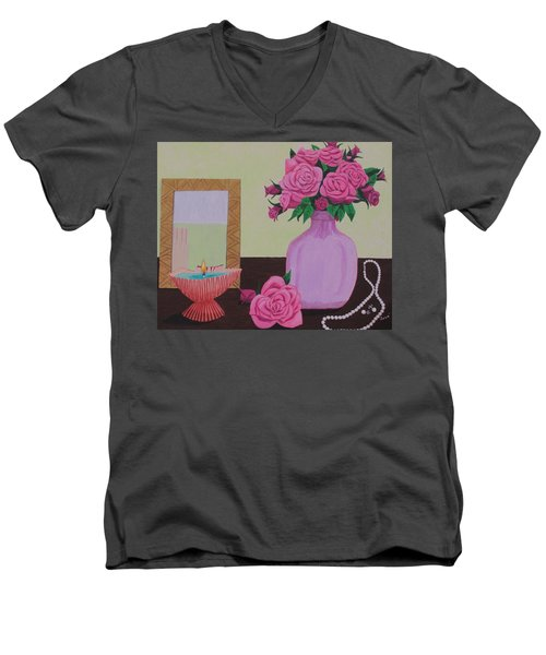 Roses And Pearls Men's V-Neck T-Shirt by Hilda and Jose Garrancho