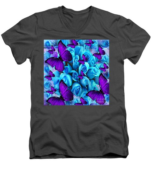 Roses And Purple Butterflies Men's V-Neck T-Shirt by Saundra Myles
