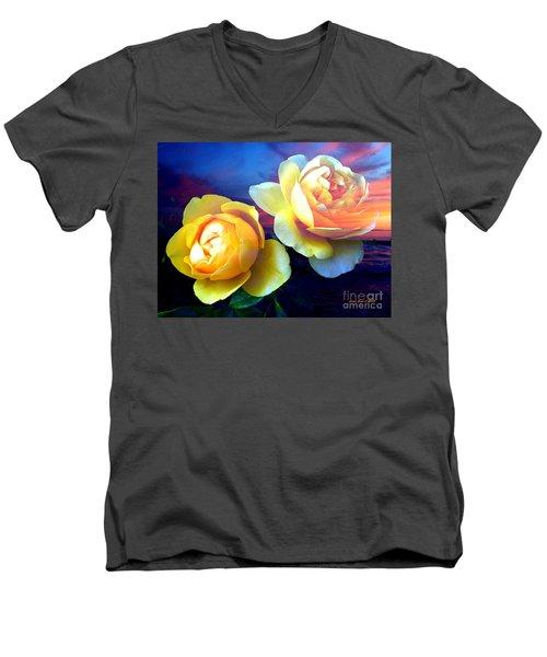 Roses Basking In A Ocean Sunset Men's V-Neck T-Shirt by Annie Zeno