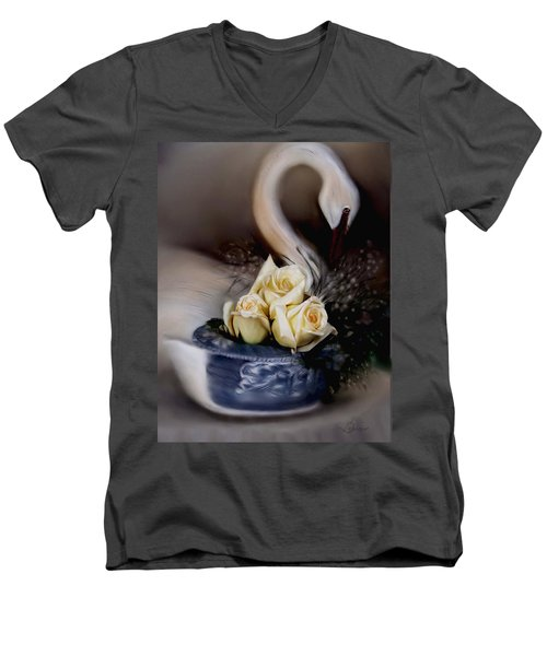 Men's V-Neck T-Shirt featuring the painting roses for Susan by Bonnie Willis