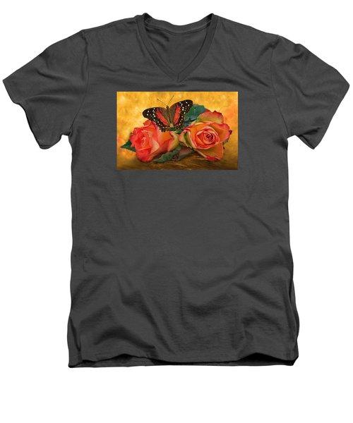 Roses In Golden Light 2 Men's V-Neck T-Shirt