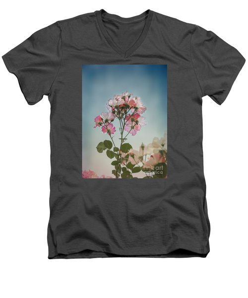 Roses In The Sky Men's V-Neck T-Shirt by Elaine Teague