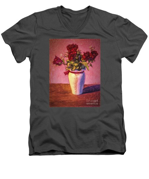 Men's V-Neck T-Shirt featuring the photograph Roses In Vase  ... by Chuck Caramella