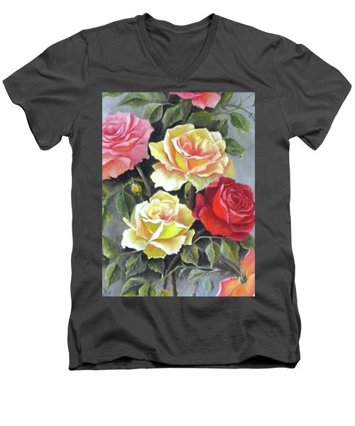 Roses Men's V-Neck T-Shirt by Katia Aho