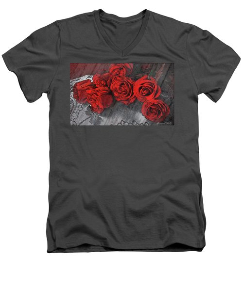 Men's V-Neck T-Shirt featuring the photograph Roses On Lace by Bonnie Willis