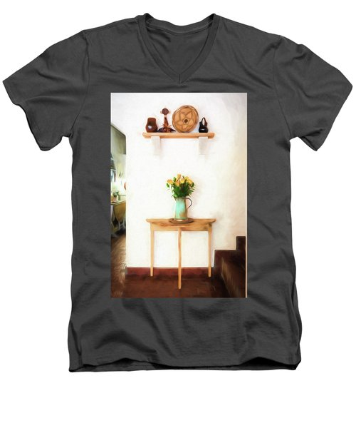 Rose's On Table Men's V-Neck T-Shirt