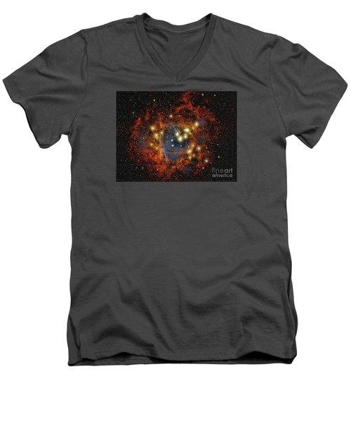 Rosette Nebula  ... Men's V-Neck T-Shirt by Chuck Caramella