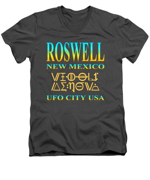 Roswell New Mexico Aliens Design - U. F. O. City U. S. A. Men's V-Neck T-Shirt