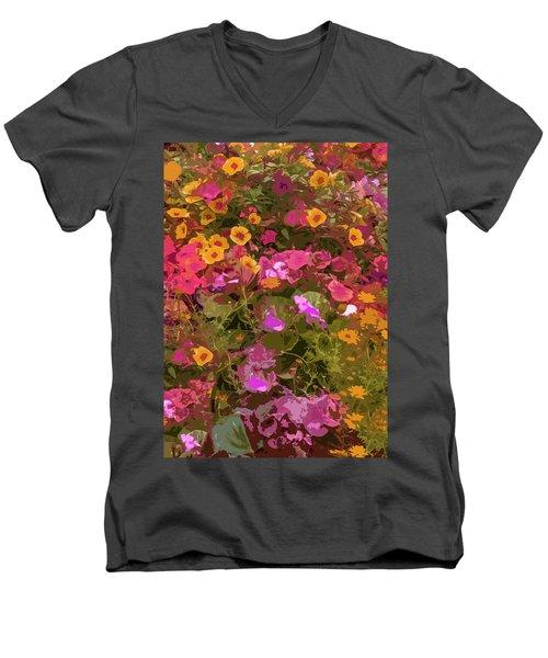 Rosy Garden Men's V-Neck T-Shirt by Josy Cue
