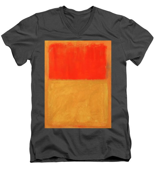 Rothko's Orange And Tan Men's V-Neck T-Shirt