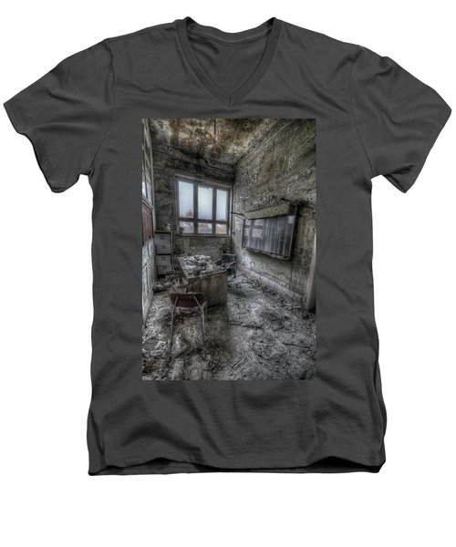 Men's V-Neck T-Shirt featuring the digital art Rotten Office by Nathan Wright
