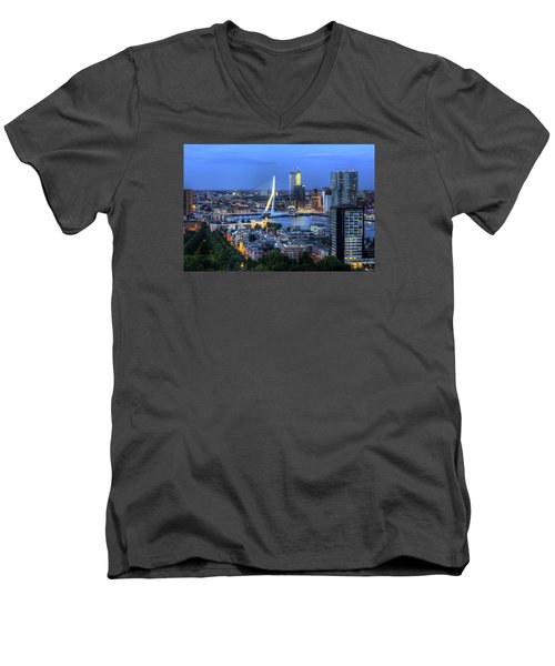 Men's V-Neck T-Shirt featuring the photograph Rotterdam Skyline With Erasmus Bridge by Shawn Everhart
