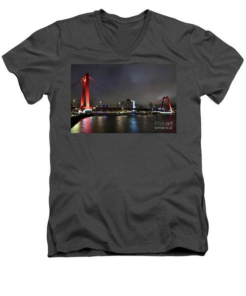 Rotterdam - Willemsbrug At Night Men's V-Neck T-Shirt