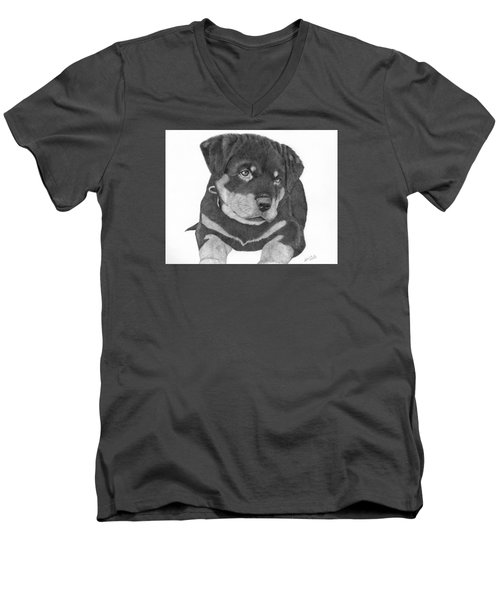 Rottweiler Puppy Men's V-Neck T-Shirt by Patricia Hiltz