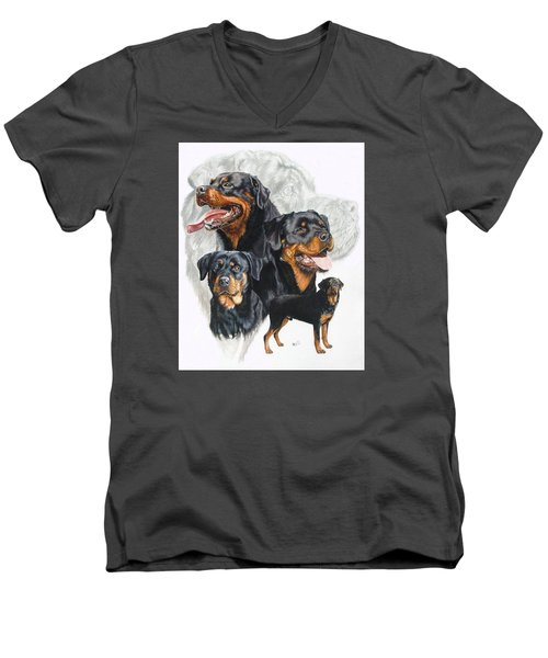Rottweiler W/ghost  Men's V-Neck T-Shirt by Barbara Keith