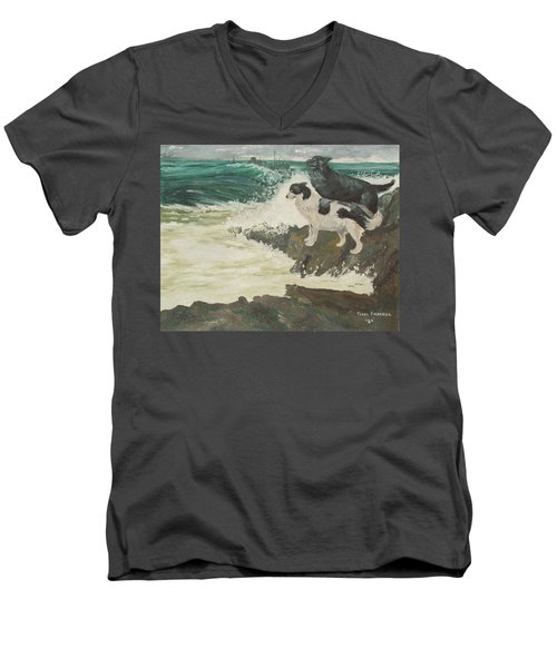 Roughsea Men's V-Neck T-Shirt by Terry Frederick