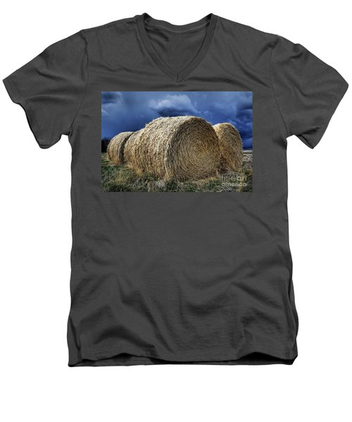 Men's V-Neck T-Shirt featuring the photograph Round Bales by Brad Allen Fine Art