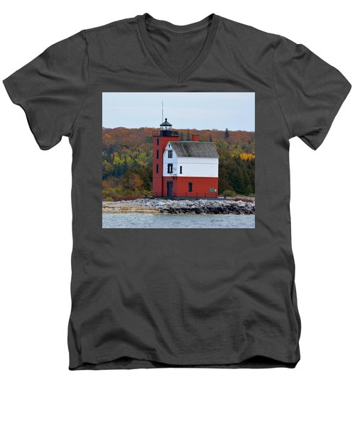 Round Island Lighthouse In October Men's V-Neck T-Shirt by Keith Stokes