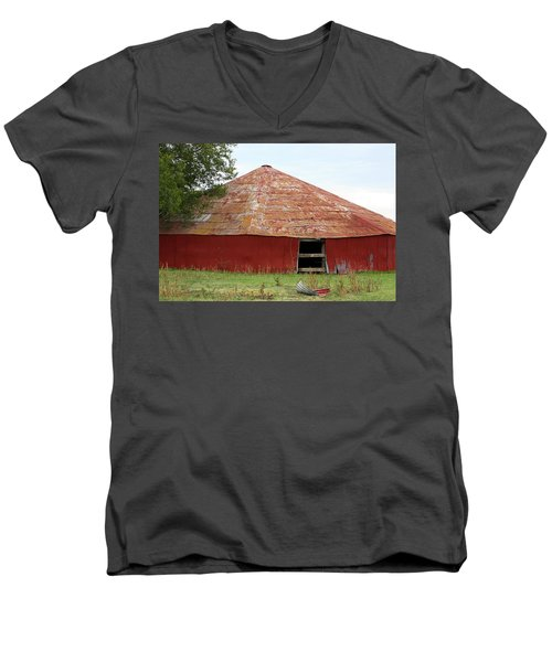 Men's V-Neck T-Shirt featuring the photograph Round Red Barn by Sheila Brown