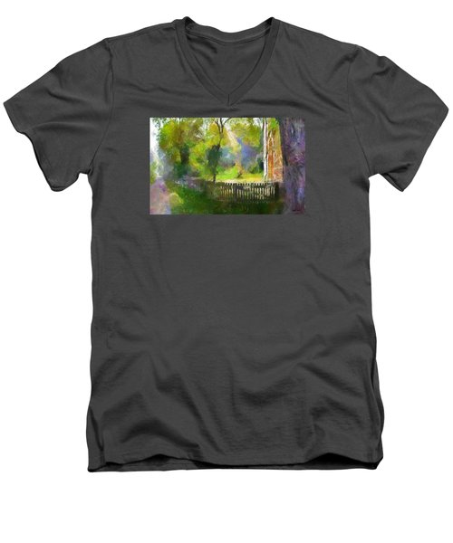 Men's V-Neck T-Shirt featuring the painting Around The Cathedral by Wayne Pascall