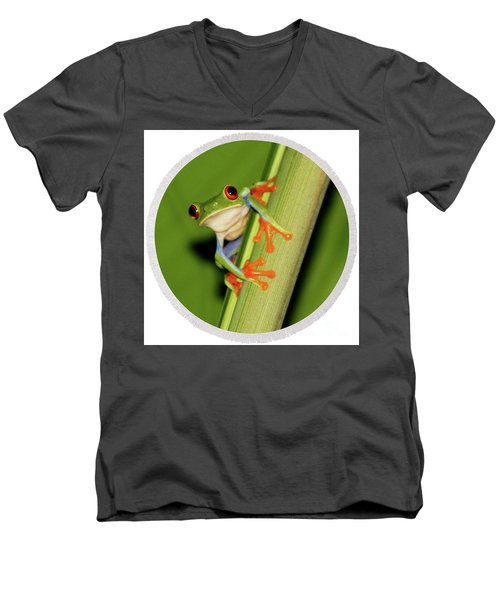 Men's V-Neck T-Shirt featuring the photograph Round Towel Frog by Myrna Bradshaw