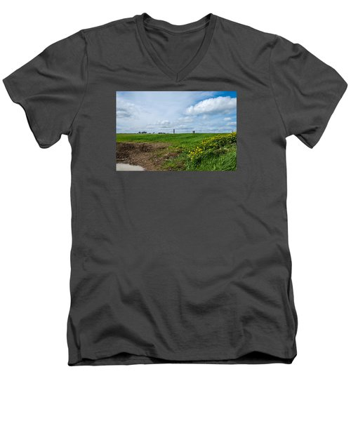 Round Tower Portrane Men's V-Neck T-Shirt by Martina Fagan
