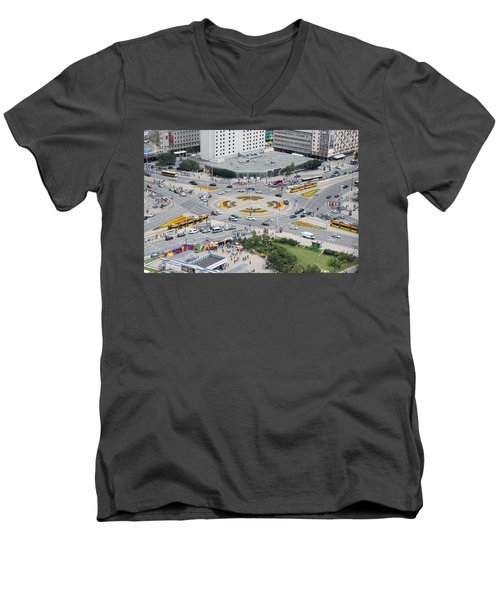 Men's V-Neck T-Shirt featuring the photograph Roundabout In Warsaw by Chevy Fleet