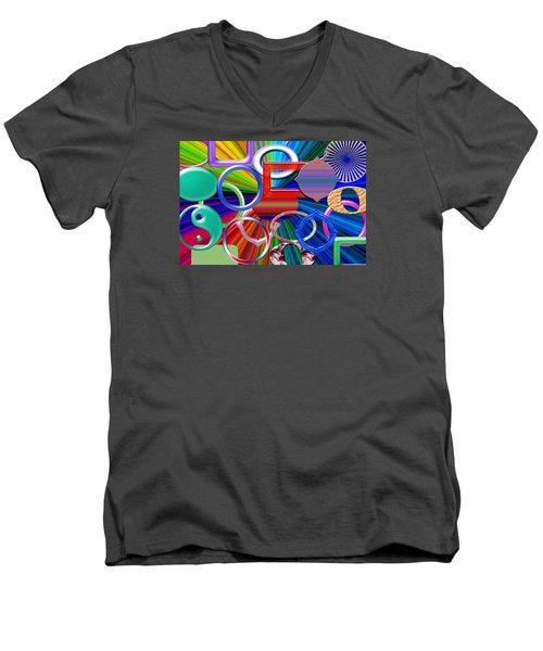 Rounded Men's V-Neck T-Shirt by Tina M Wenger