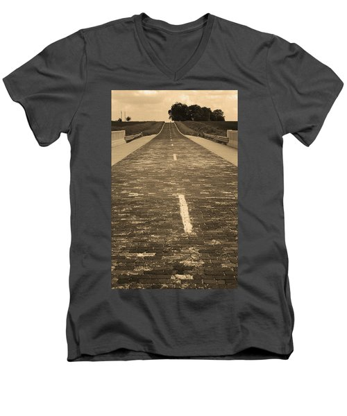 Men's V-Neck T-Shirt featuring the photograph Route 66 - Brick Highway 2 Sepia by Frank Romeo
