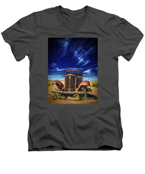 Route 66 Derelict  ... Men's V-Neck T-Shirt by Chuck Caramella