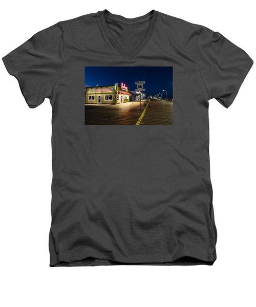 Route 66 Pier Burger Men's V-Neck T-Shirt by John McGraw
