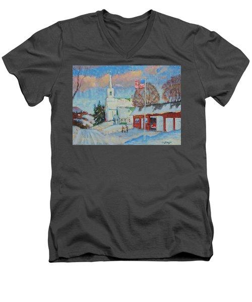 Route 8 North Men's V-Neck T-Shirt by Len Stomski