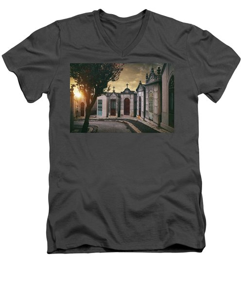 Men's V-Neck T-Shirt featuring the photograph Row Of Crypts by Carlos Caetano
