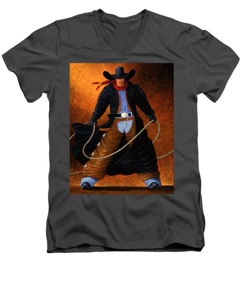 Rowdy Men's V-Neck T-Shirt by Lance Headlee