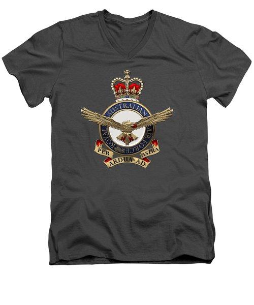Royal Australian Air Force -  R A A F  Badge Over Blue Velvet Men's V-Neck T-Shirt
