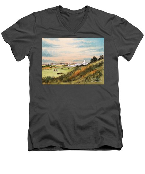 Men's V-Neck T-Shirt featuring the painting Royal Birkdale Golf Course 18th Hole by Bill Holkham