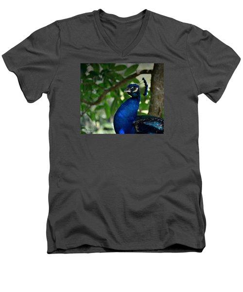 Royal Blue Men's V-Neck T-Shirt by Edgar Torres