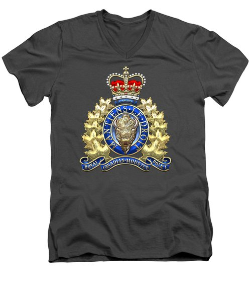 Royal Canadian Mounted Police - Rcmp Badge On Red Leather Men's V-Neck T-Shirt by Serge Averbukh