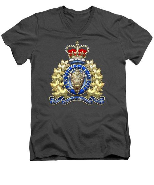 Royal Canadian Mounted Police - Rcmp Badge On Red Leather Men's V-Neck T-Shirt
