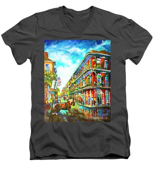 Royal Carriage - New Orleans French Quarter Men's V-Neck T-Shirt