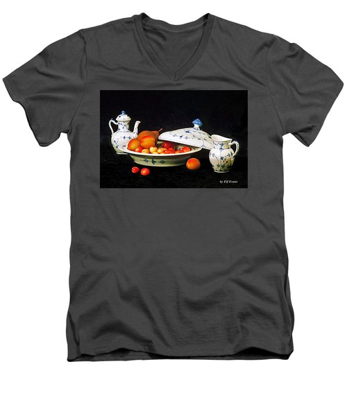 Men's V-Neck T-Shirt featuring the photograph Royal Copenhagen And Fruits by Elf Evans